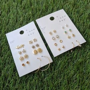 A New Day Gold 16 Pair Stud Earrings Two Sets